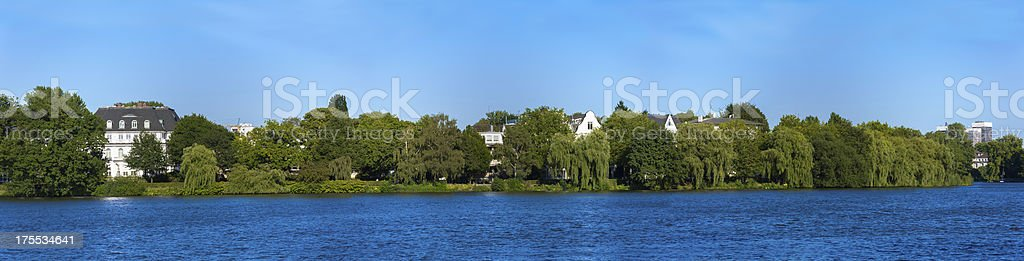 Alsterlake in panorama view stock photo