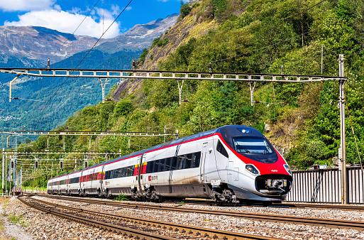 Alstom tilting high-speed train on the Gotthard railway