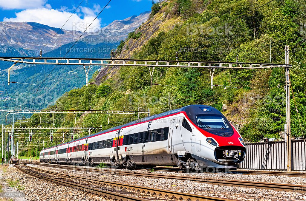Alstom tilting high-speed train on the Gotthard railway stock photo