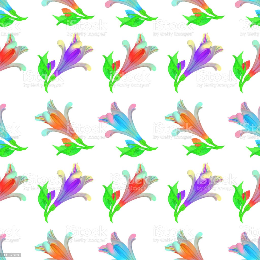 Alstroemeria. Seamless pattern texture of flowers. Floral background, photo collage stock photo
