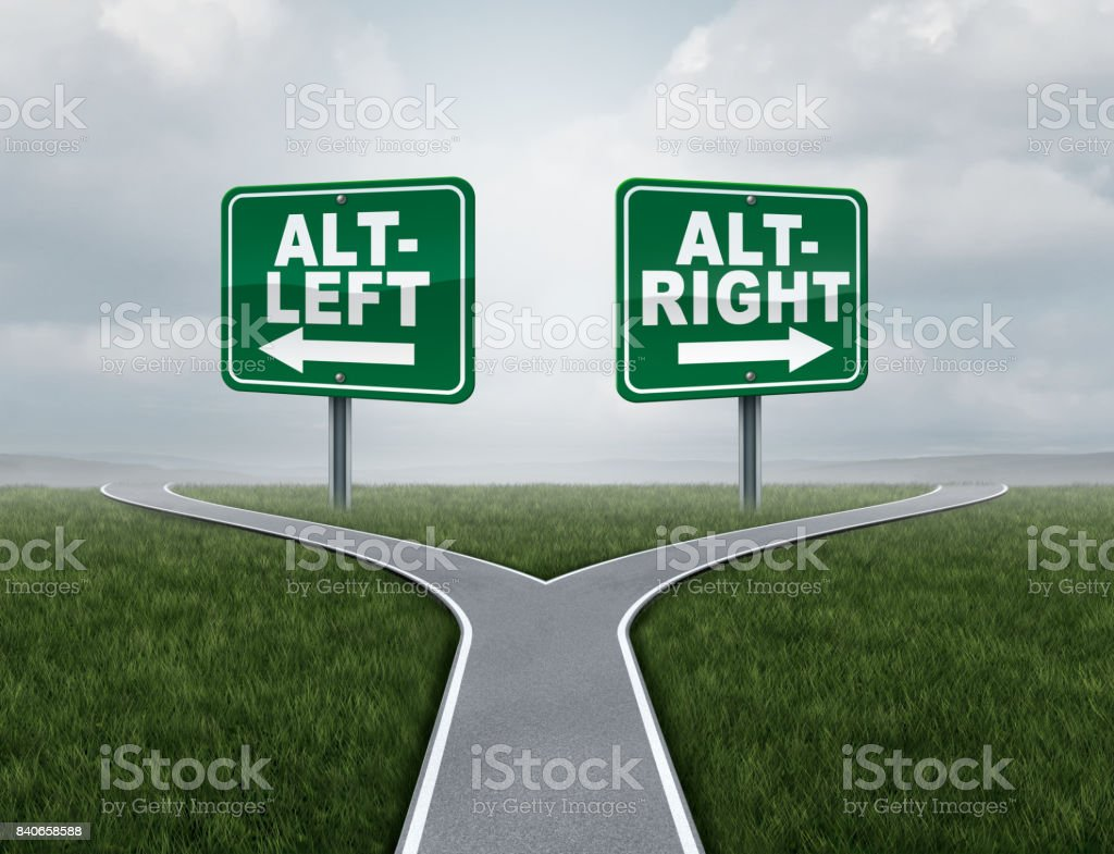 Alt Left and altright concept stock photo