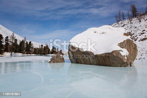 istock Altai mountain frozen lake with big stones 1193197801