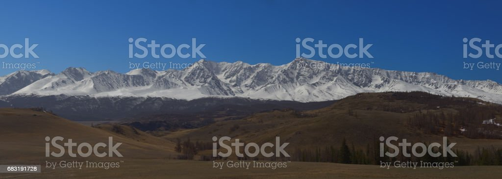 Altai mountains. Beautiful highland landscape. Russia. Siberia. Flight on quadcopter. Top view 免版稅 stock photo