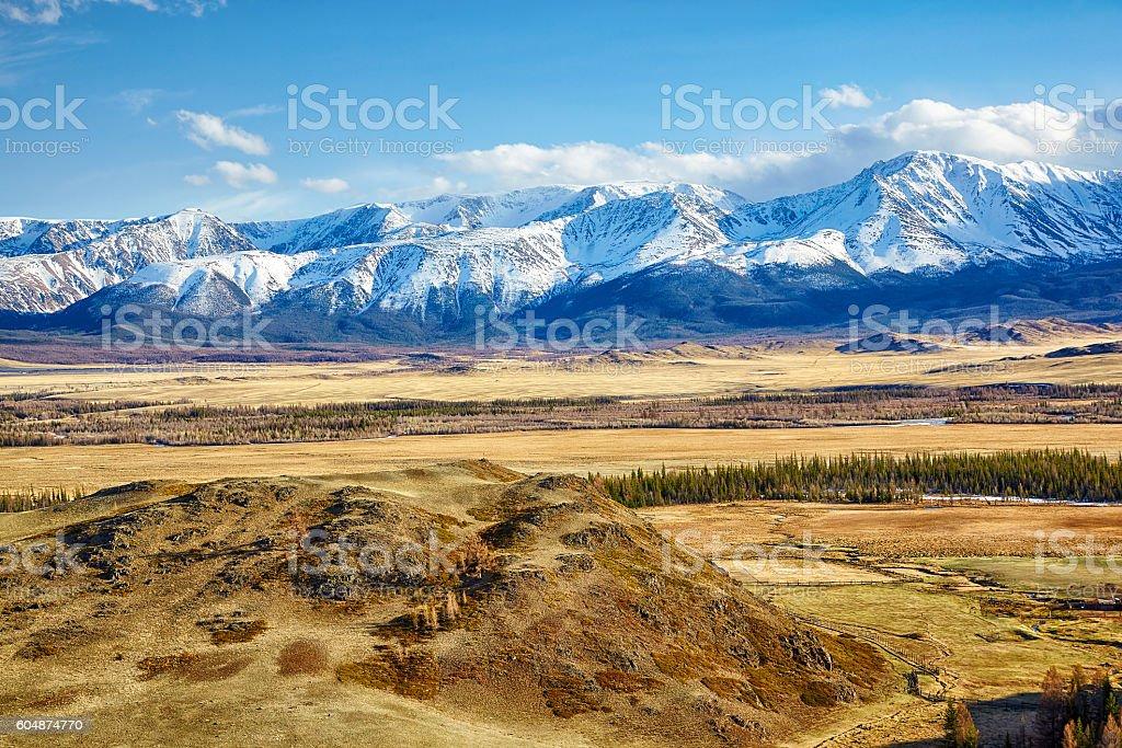 Altai mountains in Kurai area with North Chuisky Ridge stock photo