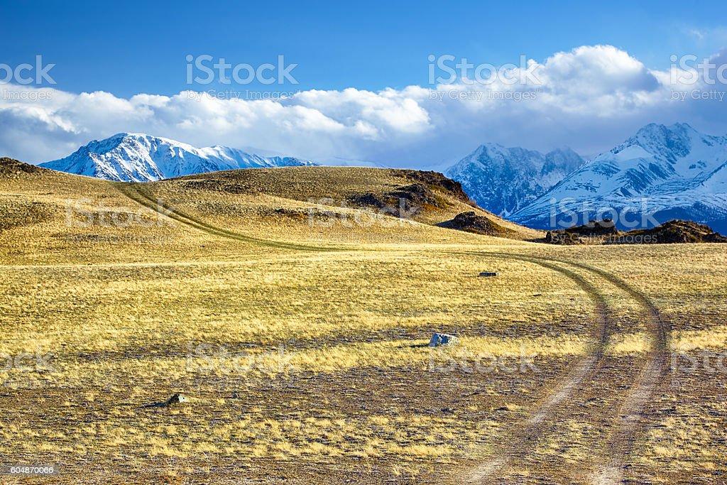 Altai road to North Chuisky Ridge stock photo