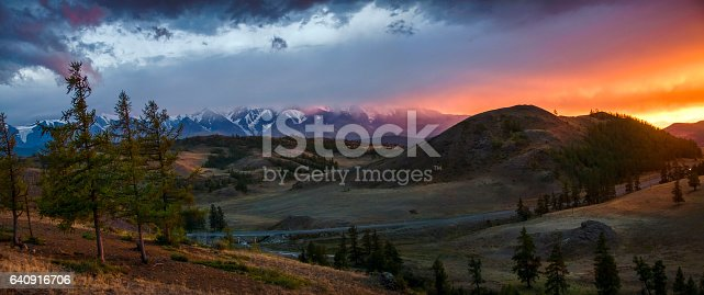istock Altai, Ukok plateau. Beautiful sunset with mountains in the background. Snowy peaks autumn. Journey through Russia, Altay 640916706