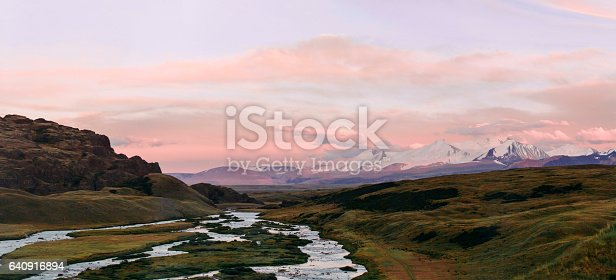 istock Altai, Ukok plateau. Beautiful sunset with mountains in the background. Snowy peaks autumn. Journey through Russia, Altay 640916894