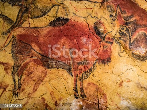 Detail of the replica of paintings of the cave of Altamira