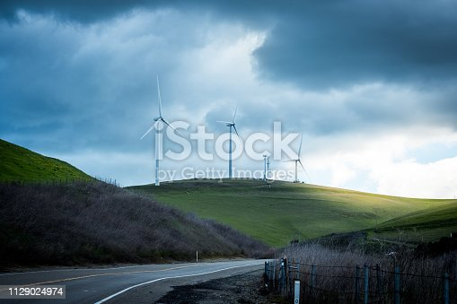 Scenery at the Altamont Pass Wind Farm in Livermore, California