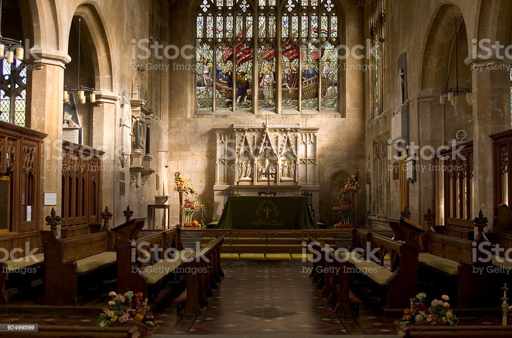 Altar and choir pews royalty-free stock photo