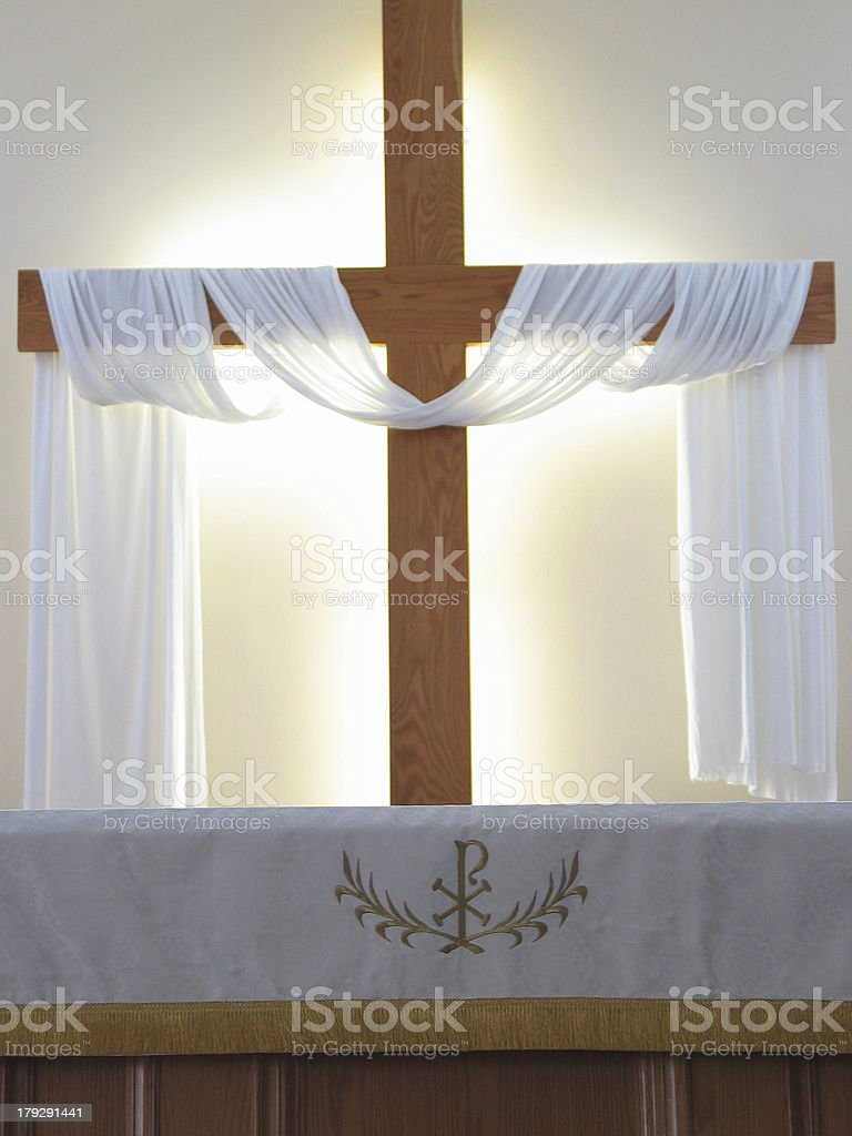 Altar and Cross closeup stock photo