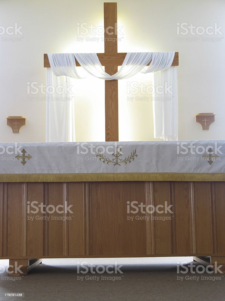 Altar and cross stock photo