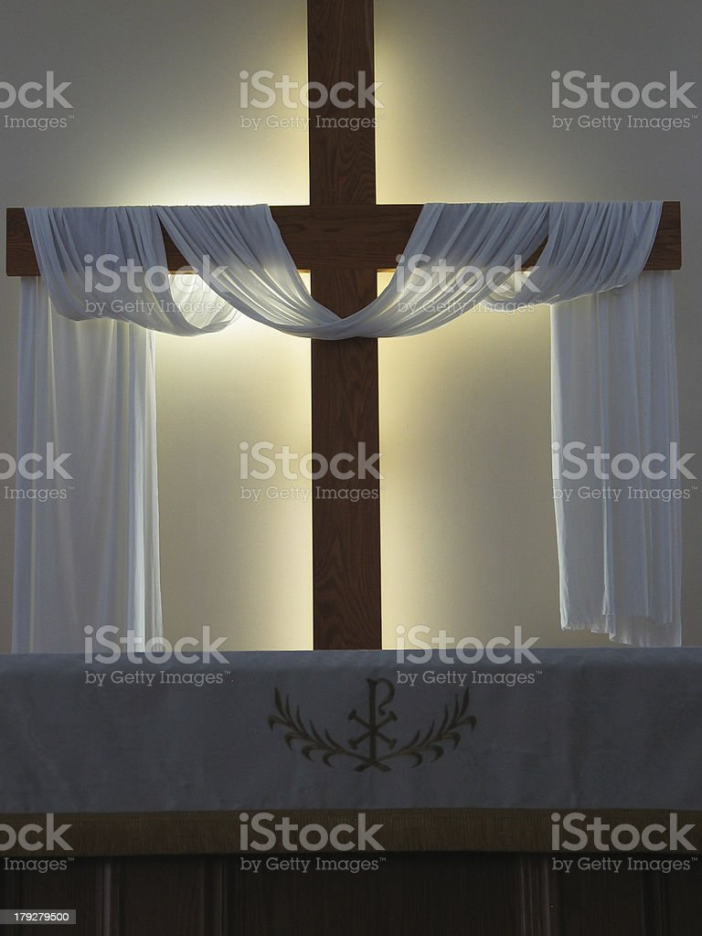 Altar and Cross Silhouette stock photo