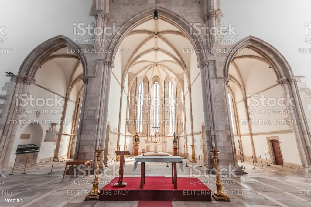 Altar, apse and chapels of the Santo Agostinho da Graca church. stock photo
