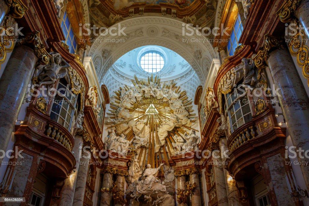 Altar at Karlskirche St Charles's Church Vienna royalty-free stock photo