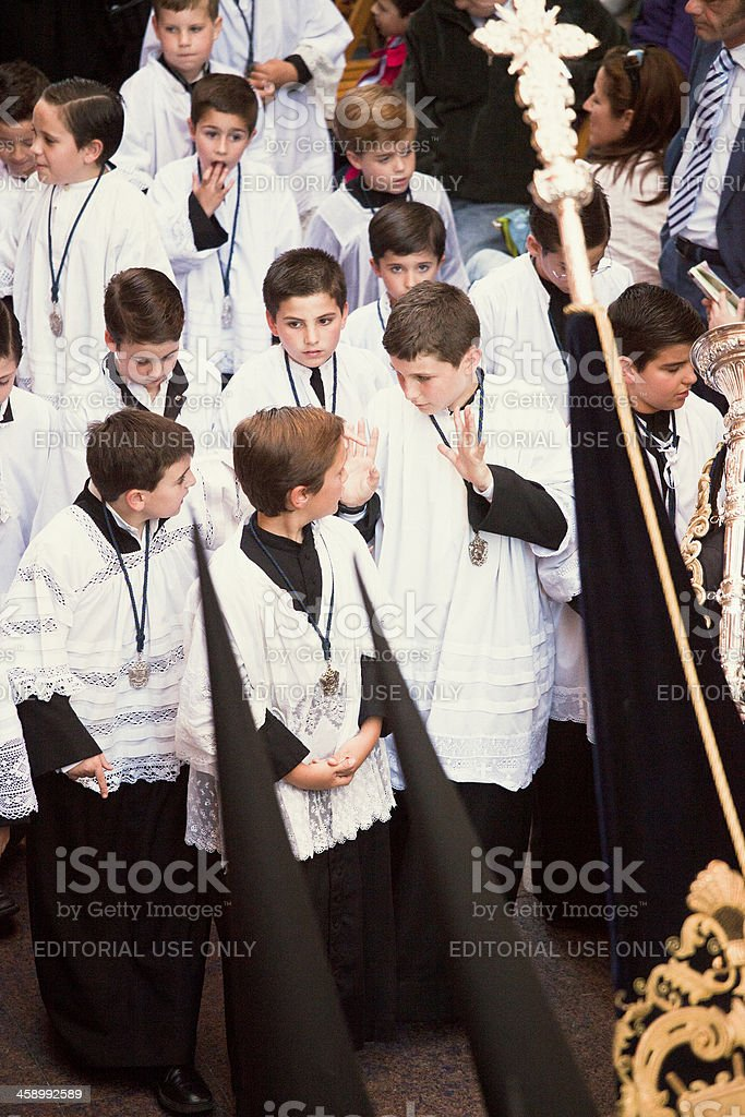 altar boys during the Celebration of Holy Week stock photo