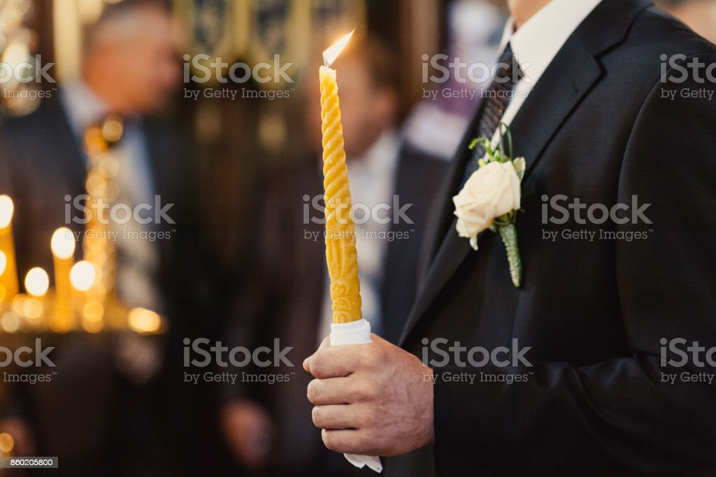 Altar church bible candles crown cross icon stock photo