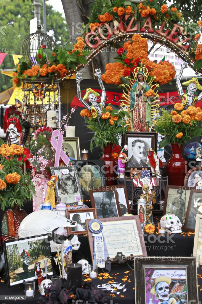 Altar for the deads at Olvera street in Los Angeles stock photo