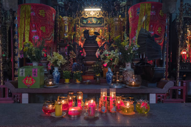 Altar in Chinese Temple in Vietnam stock photo