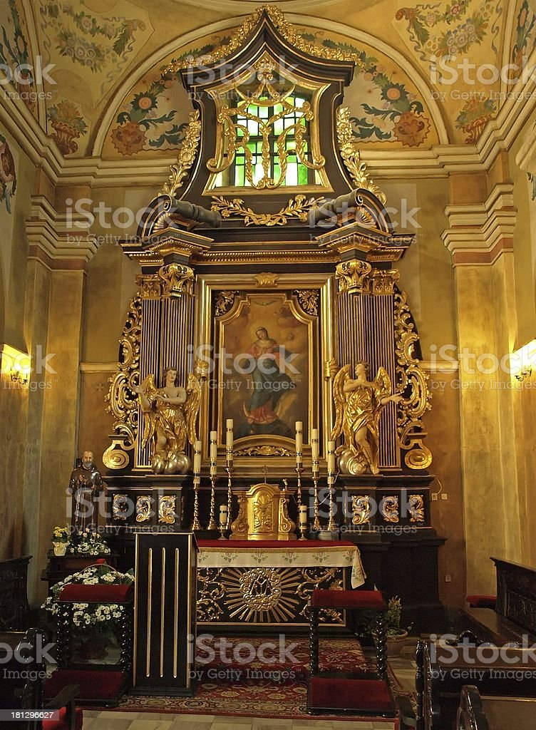 Altar in Kalwaria Zebrzydowska church stock photo