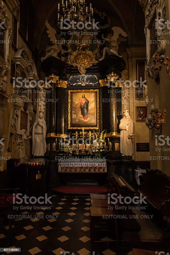 Altar in the Church of the Pauline Fathers on Skalka stock photo