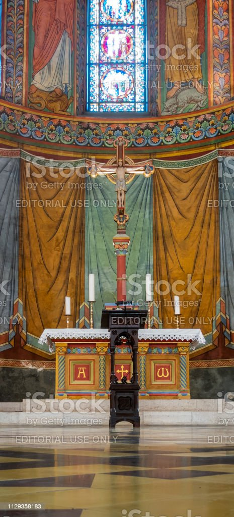 Altar in the Imperial Cathedral of Koenigslutter, Altar in the imperial cathedral of Koenigslutter, close-up view stock photo
