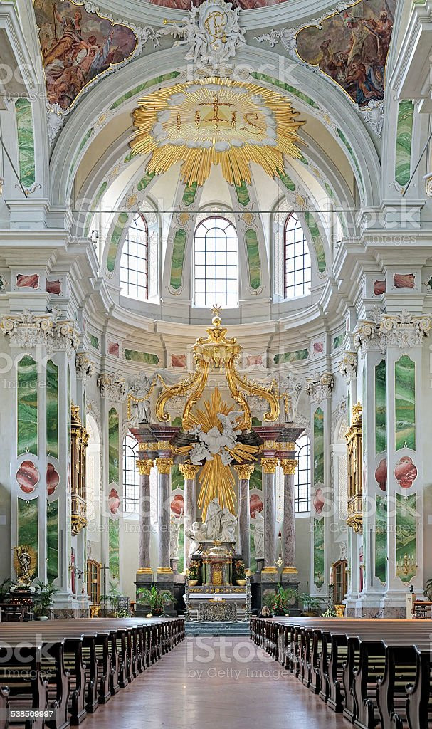 Altar of Jesuit Church in Mannheim, Germany stock photo