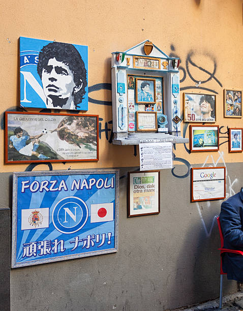 altar of maradona outside the bar nilo in naples - diego maradona 뉴스 사진 이미지