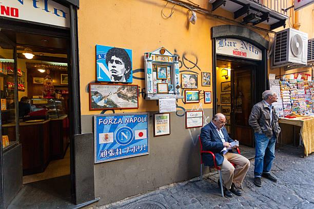 altar of maradona outside the bar nilo in naples - maradona 뉴스 사진 이미지