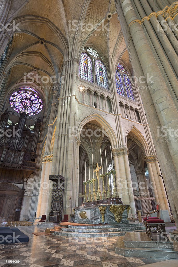 Altar of Reims Notre-Dame Cathedral, France stock photo