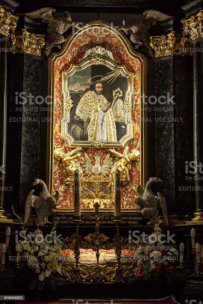 Altar of St. Stanislaus  in the Church  on Skalka, Krakow stock photo