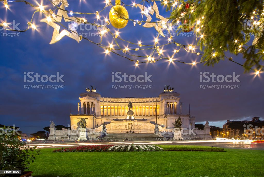 Altar of the Fatherland at night, Rome, Italy royalty-free stock photo