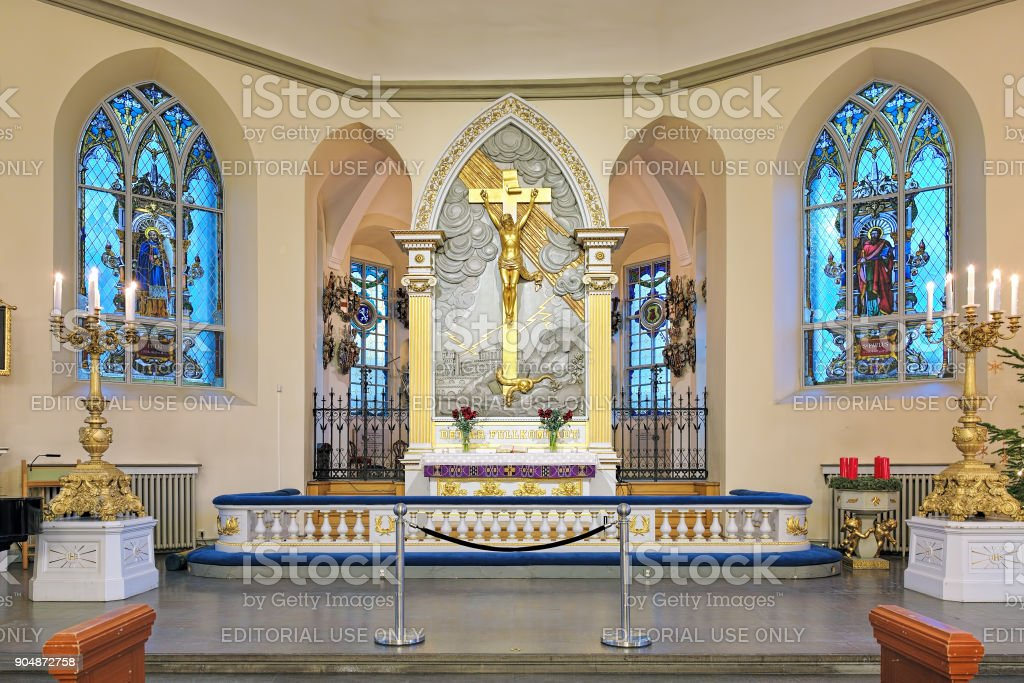 Altar of the German Christinae church in Gothenburg, Sweden stock photo