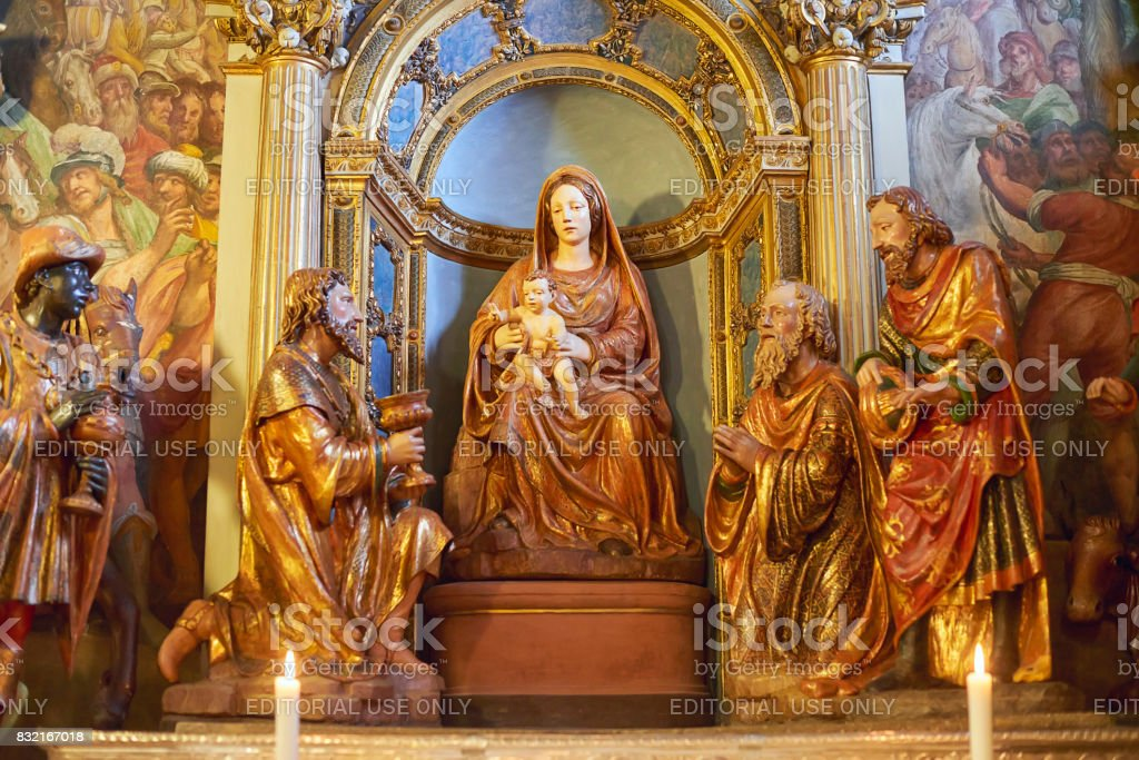Altar of the Sanctuary Sacro Monte di Varese Italy stock photo