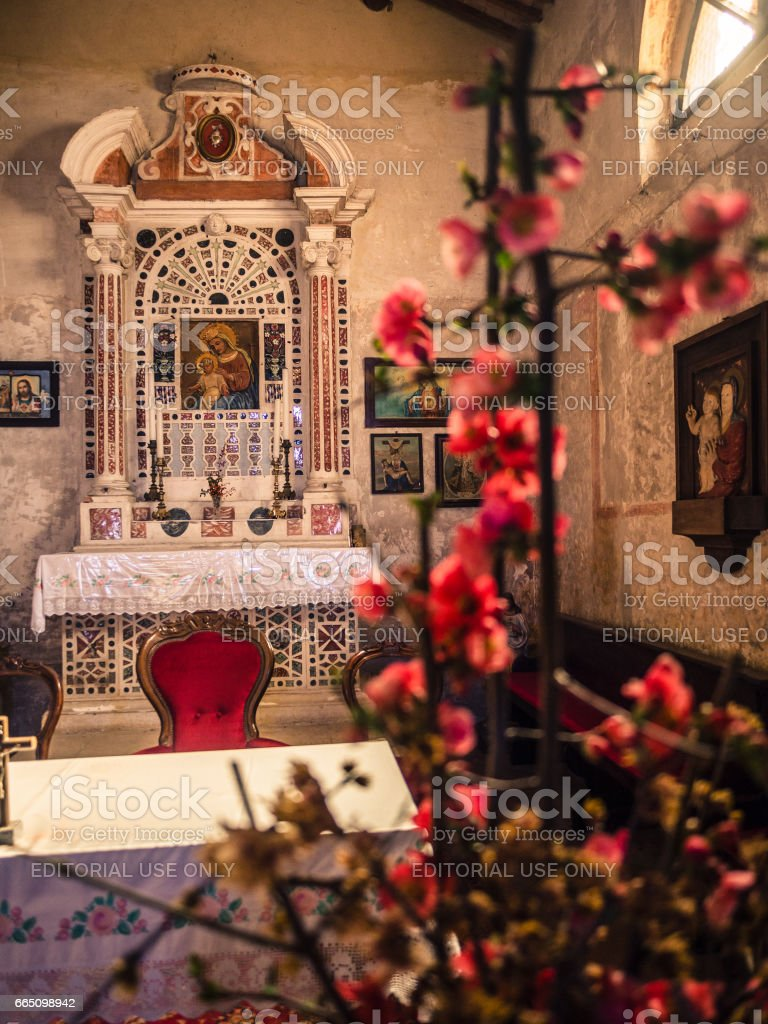 Altar of the votive church of Saint Mary of the Alzana, famous for the many unexplained healings. stock photo