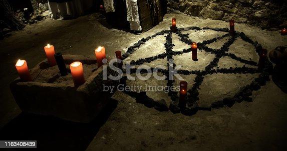 Altar rituals satanic, witchcraft and spells, halloween