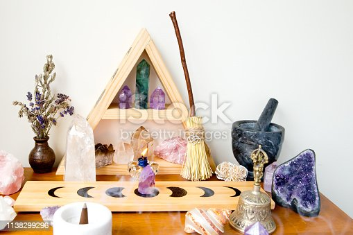 Altar Space - Witch, Wicca, New Age, Pagan with Crystal Shelf and Altar tile with Moon Phase design, crystals, incense and candles