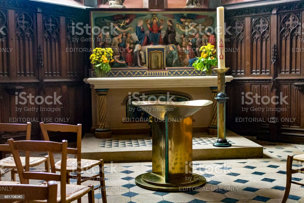 Altar St-Etienne Cathedral Bourges France stock photo