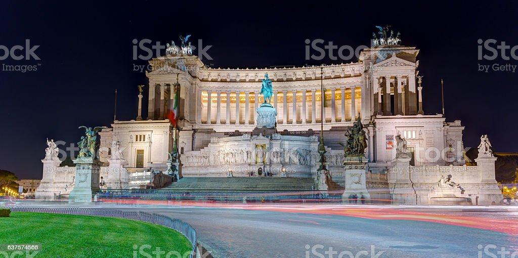 Altare della Patria at night, Rome, Italy stock photo