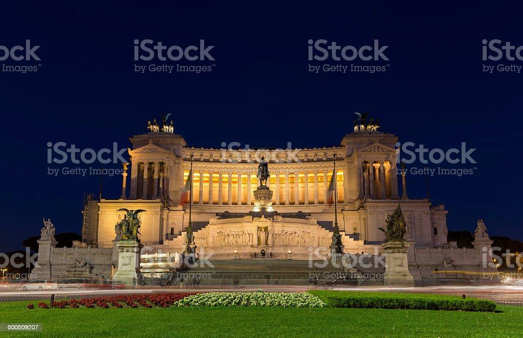Altare della Patria by night - Rome, Italy stock photo