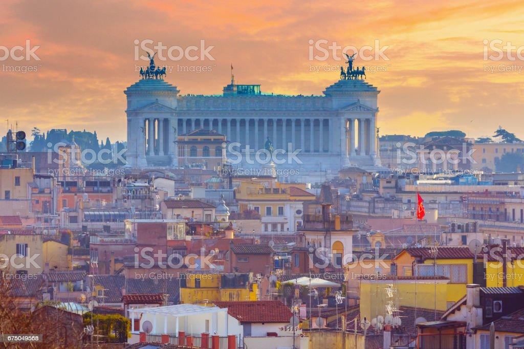 Altare della Patria (National Monument to Victor Emmanuel II) over Rome, Italy stock photo