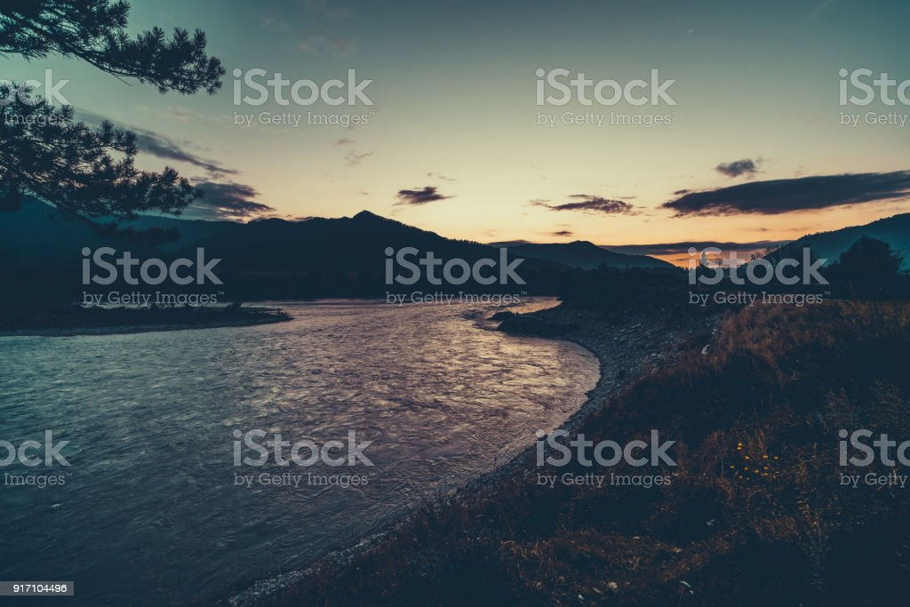 Altay mountains at night stock photo