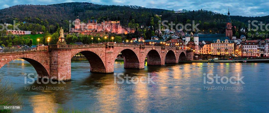 Alte bruck and Neckar river in evening stock photo