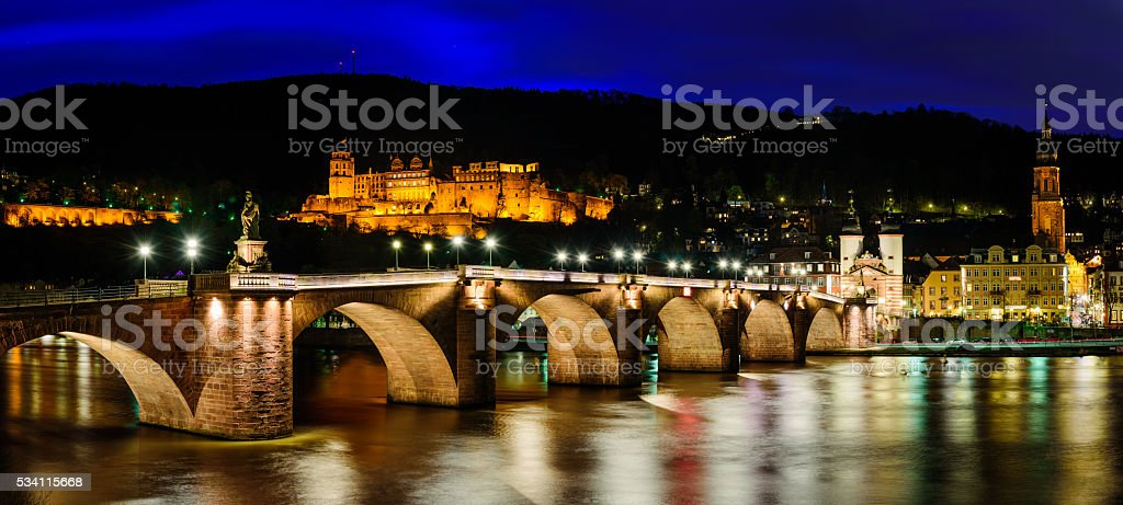 Alte bruck and Neckar river  night time stock photo