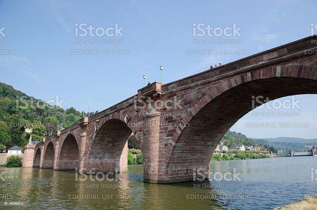 Alte Brucke across the river Neckar in Heidelberg in Germany stock photo