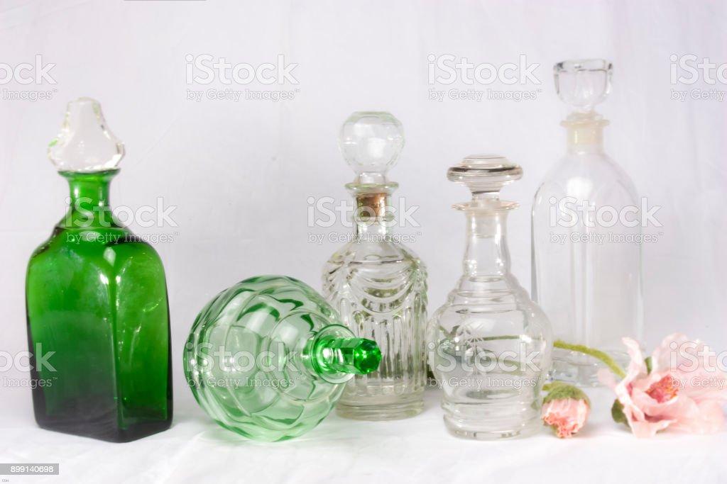 Alte Glasflaschen Kristall stock photo