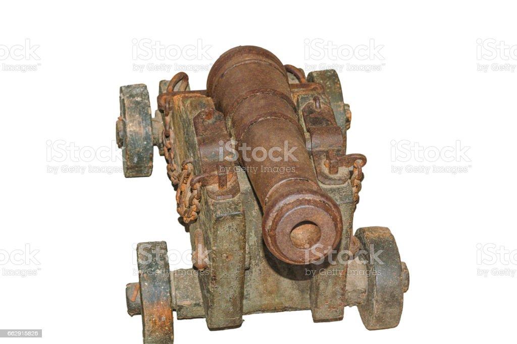 Alte Kanone auf Rädern stock photo