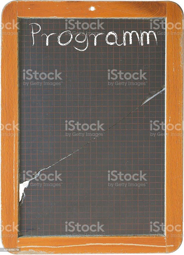 Alte Schiefertafel mit der Aufschfrift Programm stock photo