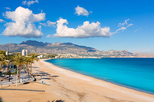 Altea Playa del Albir of white stones in Alicante Spain