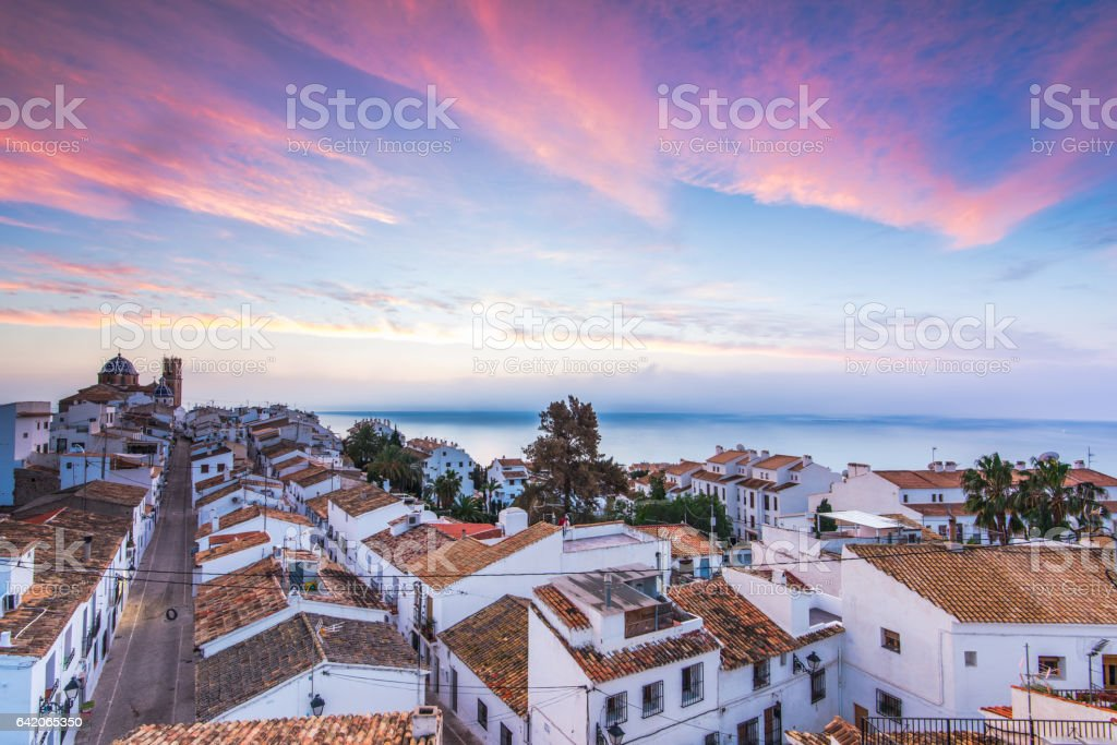 Altea white houses at sunset in Costa Blanca, Spain stock photo